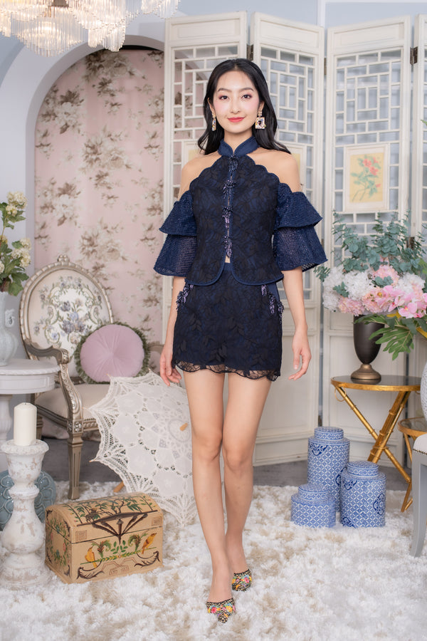 LNR'20 Lace Cheongsam Top - Navy