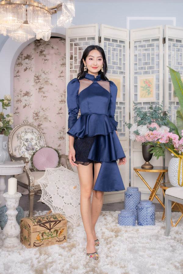 LNR'20 Puff Sleeve Cheongsam Top - Navy