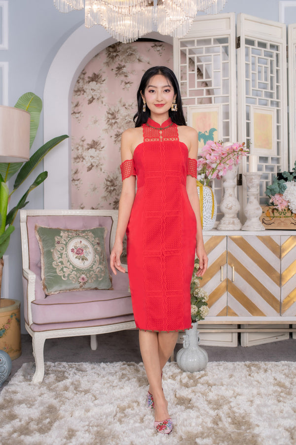 LNR'20 Cold Shoulder Cheongsam - Red