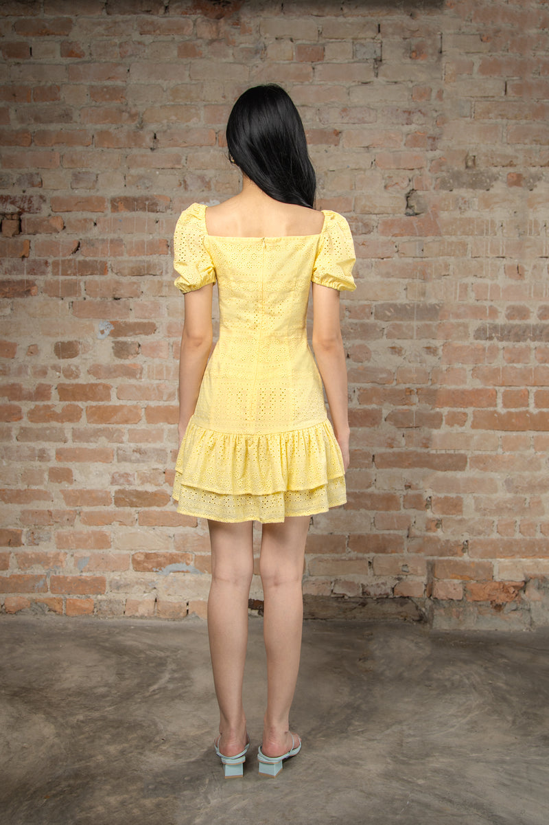 Resort'20 Tie Front Mini Dress - Yellow