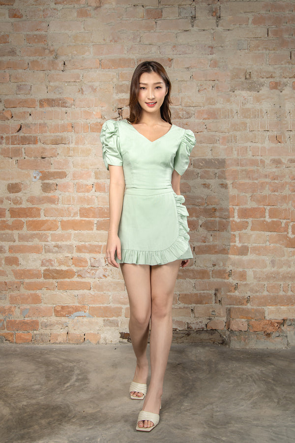 Resort'20 Shirred Sleeve Top - Green