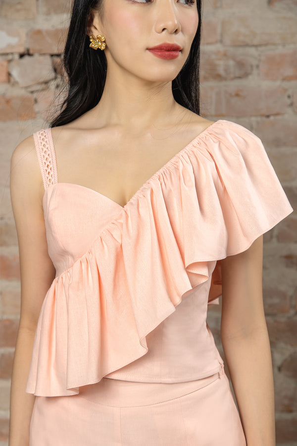 Resort'20 One Shoulder Top - Pink