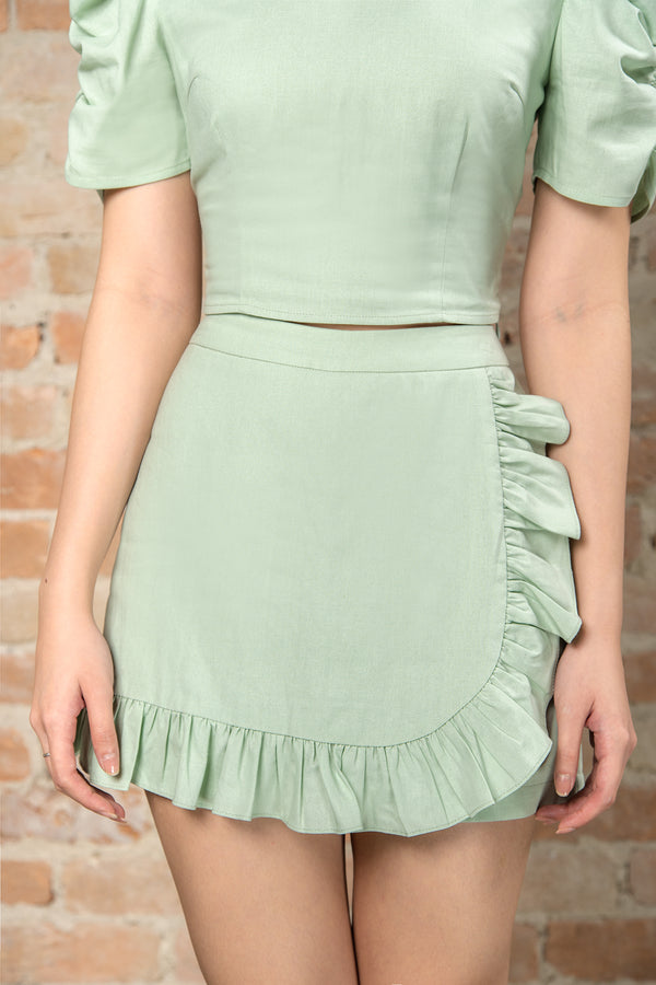 Resort '20 Ruffle Skort - Green