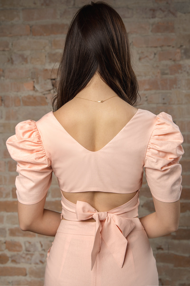 Resort'20 Shirred Sleeve Top - Pink