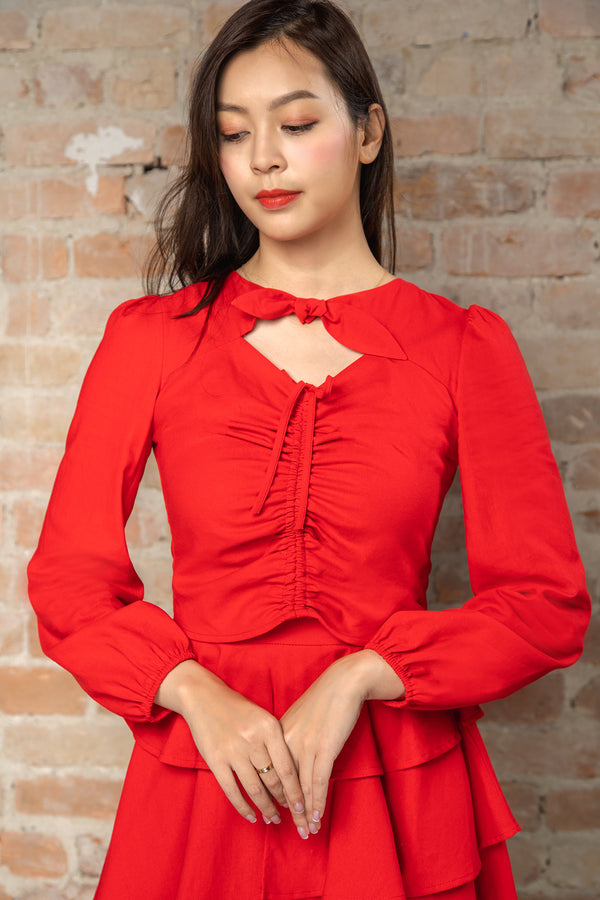 Resort'20 Ruched Shirred Long Sleeve Top - Red