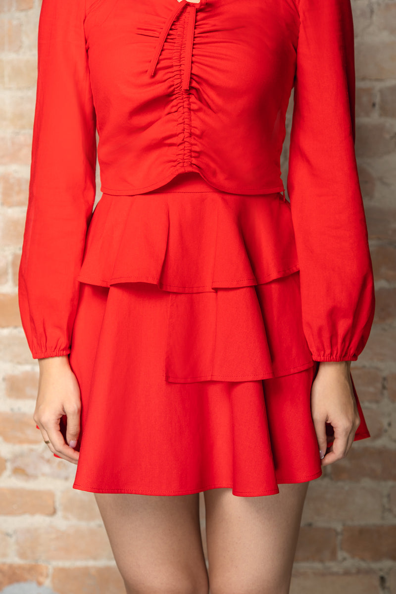 Resort'20 Tiered Mini Skirt - Red