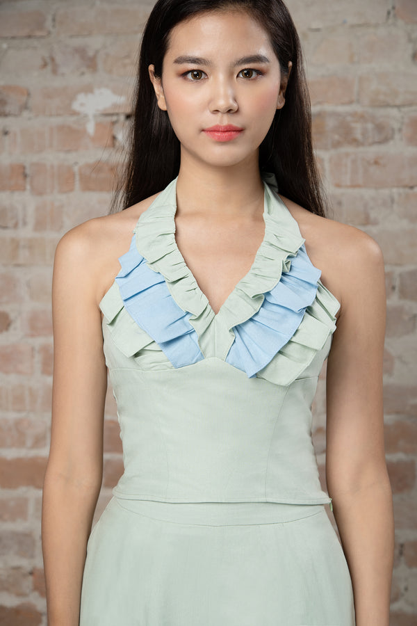 Resort'20 Halter Neck Ruffle Top - Green
