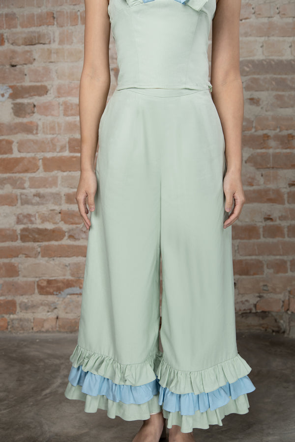 Resort'20 Wide Leg ruffle Pants - Green