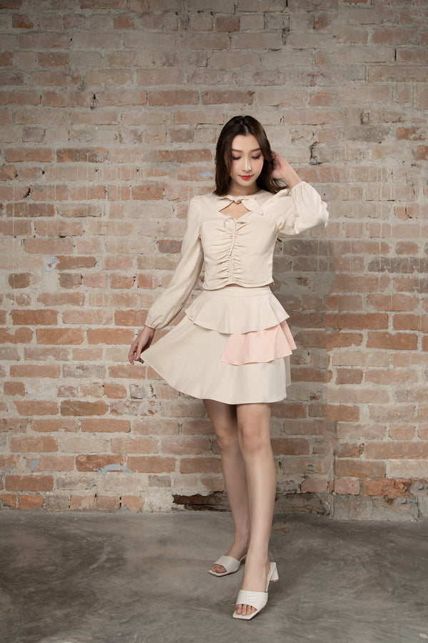 Resort'20 Tiered Mini Skirt - Beige
