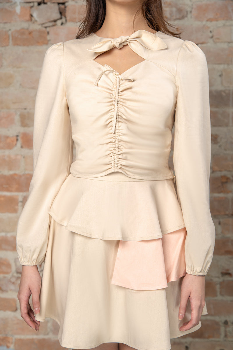 Resort'20 Ruched Shirred Long Sleeve Top - Beige