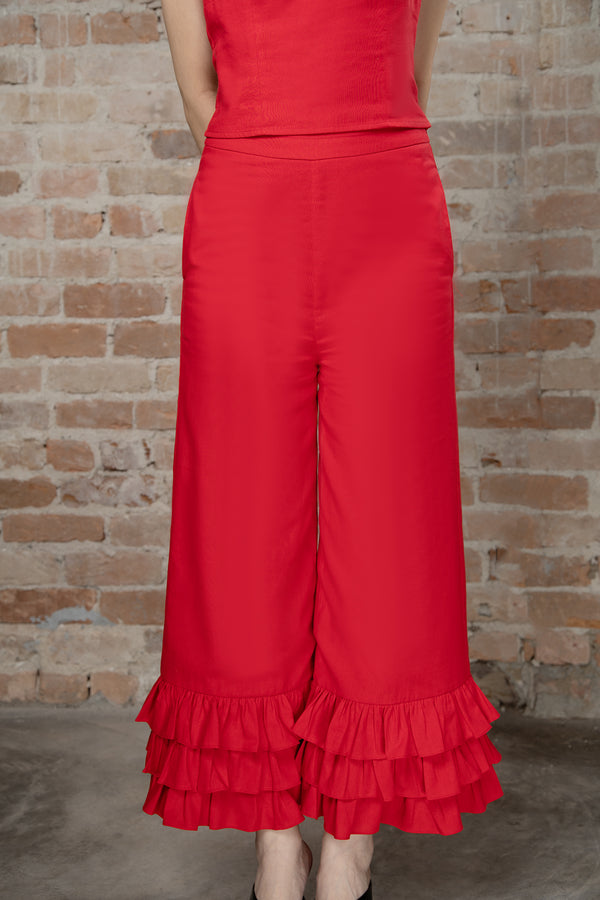 Resort'20 Wide Leg ruffle Pants - Red