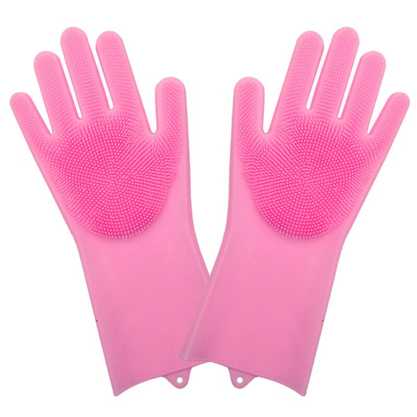 1 Pair Dish Washing Gloves Magic Silicone Dishes Cleaning Gloves With Cleaning Brush Kitchen Wash Housekeeping Scrubbing Gloves
