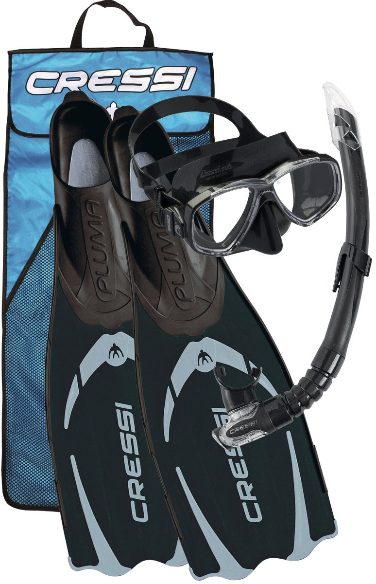 Cressi Pluma Mask Snorkel and Fin Set