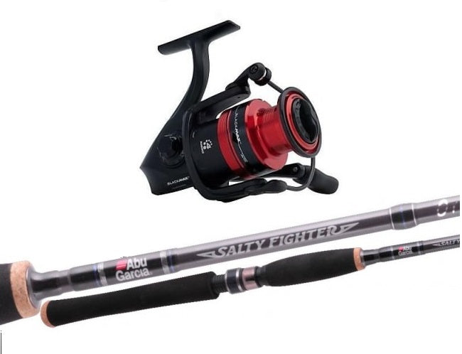 Abu Garcia Salty Fighter Rod and Reel Spinning Combo - Fully Spooled with Braid