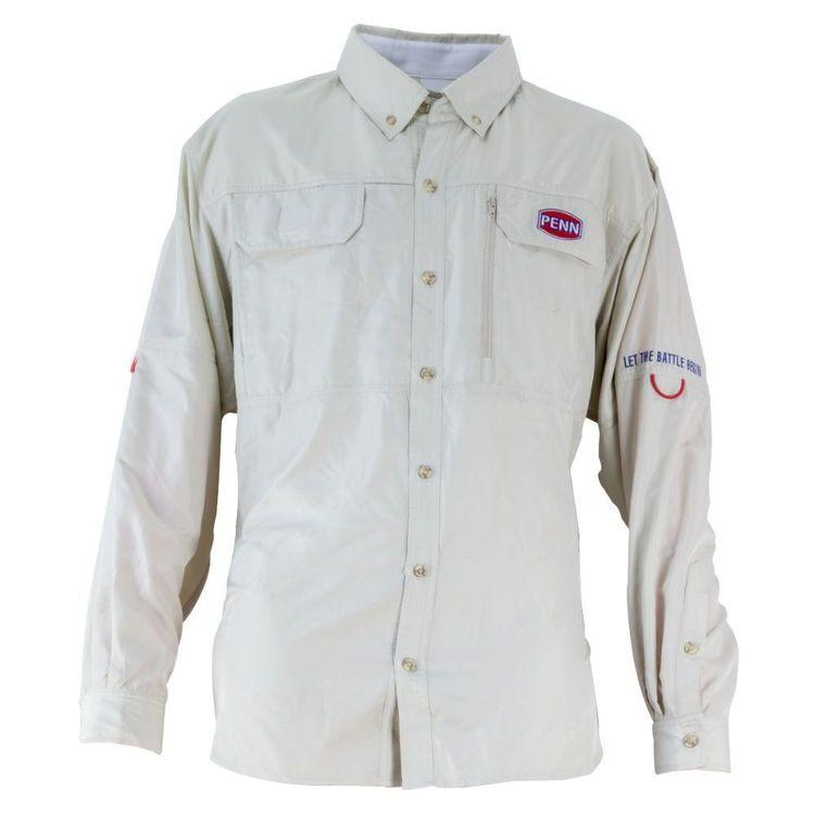 Penn Vented Long Sleeve Fishing Shirt Oatmeal