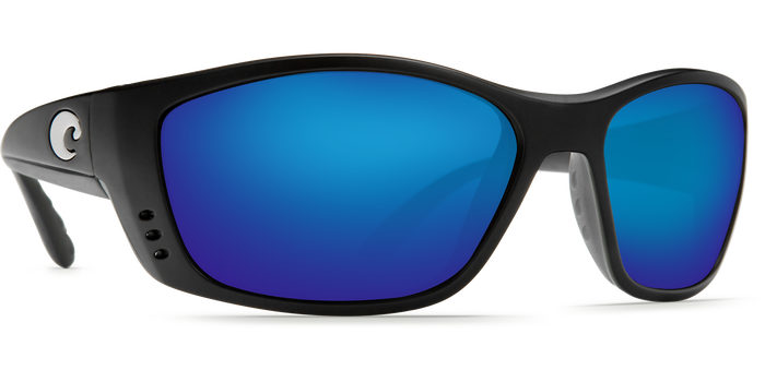 Costa Del Mar Fisch Matte Black Frame Polarised Sunglasses - Blue Mirror Lense 400G