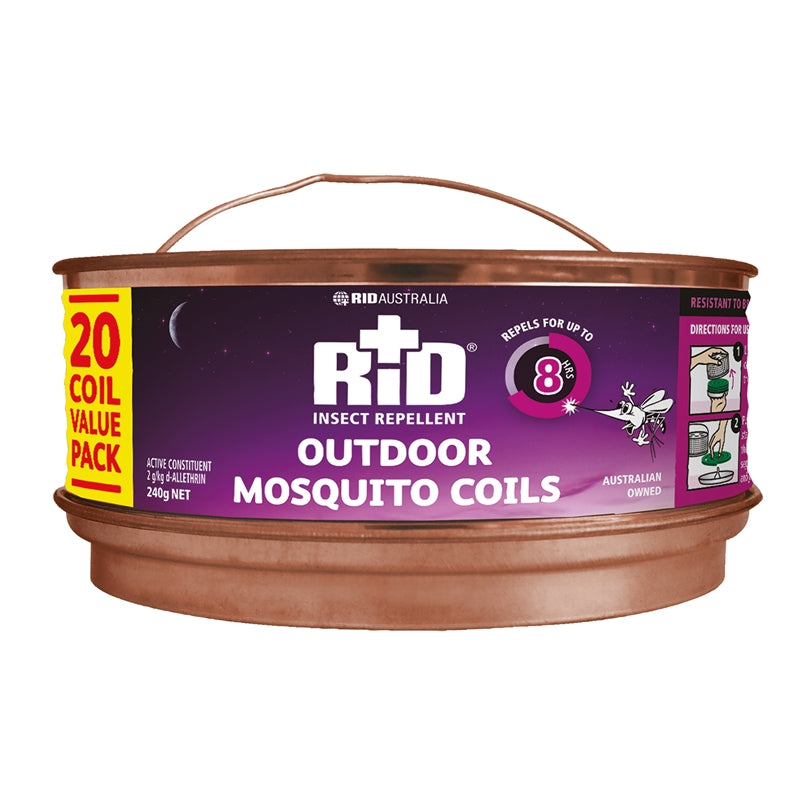 RID Insect Repellent Outdoor Mosquito Coils - 20 Pack
