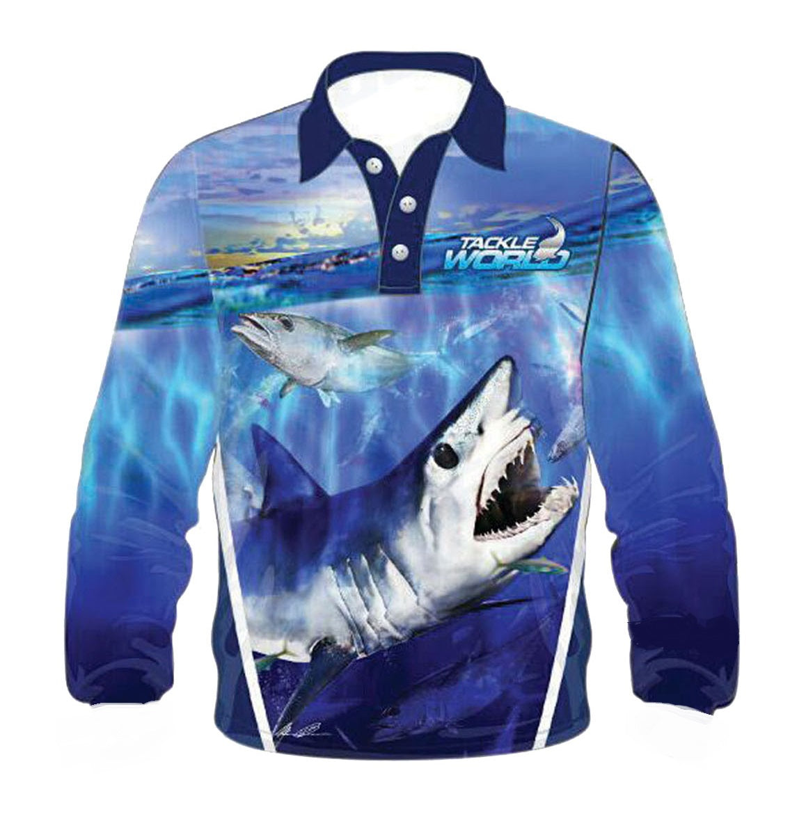 Tackle World Mako Shark Kids Long Sleeve Fishing Shirt