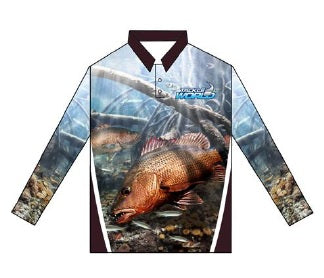 Tackle World Mangrove Jack Kids Long Sleeve Fishing Shirt - Print 2.0