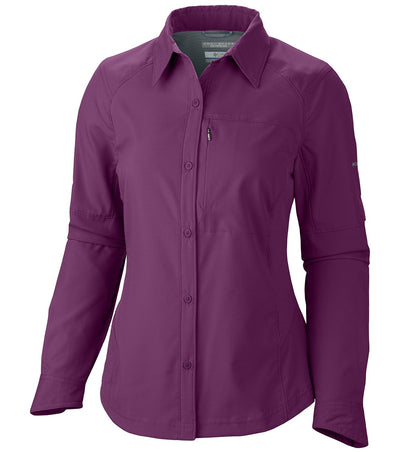 Columbia Silver Ridge Long Sleeve Womens Shirt Dark Raspberry