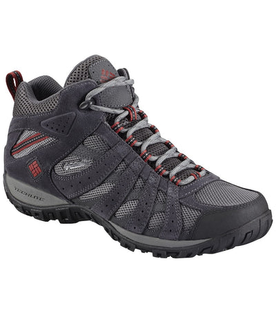 Columbia Redmond Mid Waterproof Mens Hiking Boots Charcoal Red