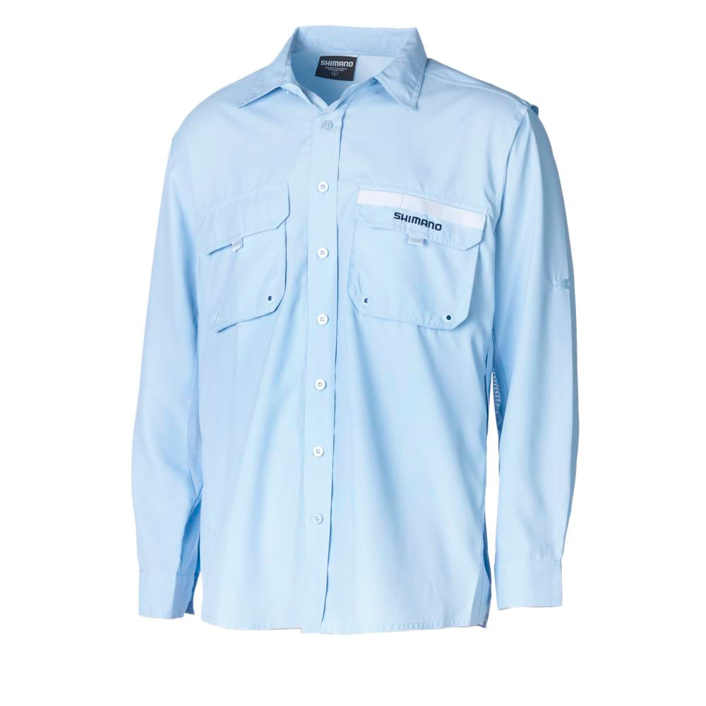 Shimano Blue Long Sleeve Vented Adult Fishing Shirt