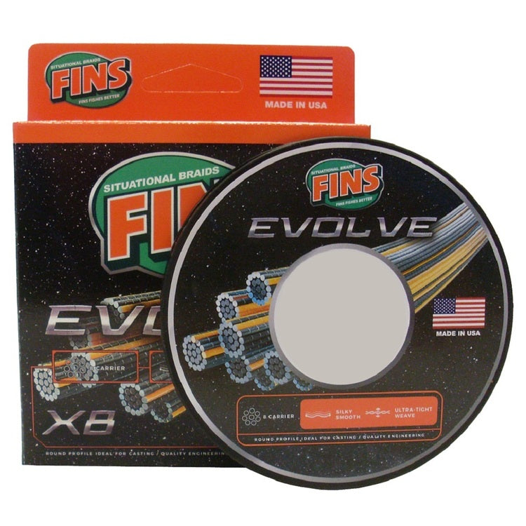 Fins Evolve x8 Chartreuse Braided Fishing Line 150yd