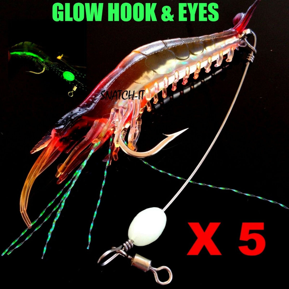 5 Pack Rigged Shrimp Soft Plastic Lures with Lumo Bead and Wire for Flathead Bream Cod Bass