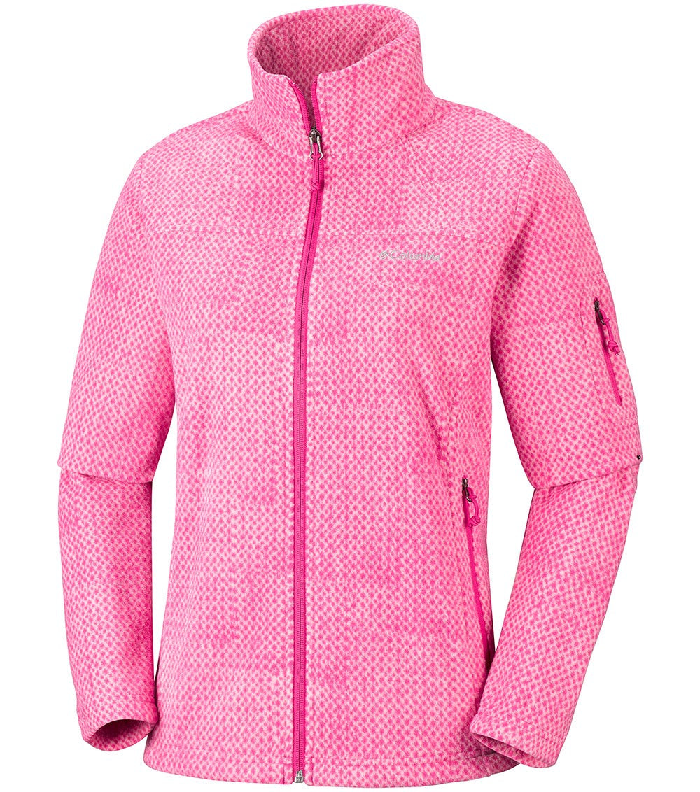 Columbia Fast Trek Printed Womens Fleece Jacket Cactus Pink