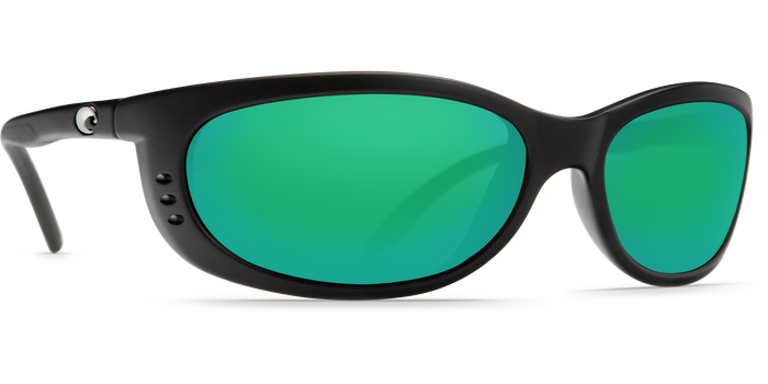 Costa Del Mar Fathom Black Frame Polarised Sunglasses - Green Mirror Lense 400G