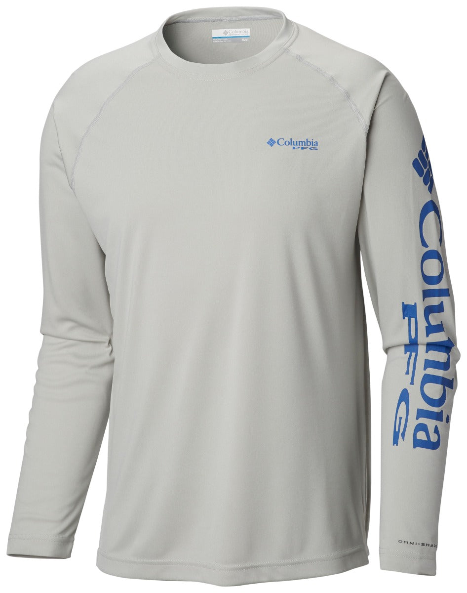 Columbia PFG Terminal Tackle Heather Long Sleeve Mens Shirt Cool Grey