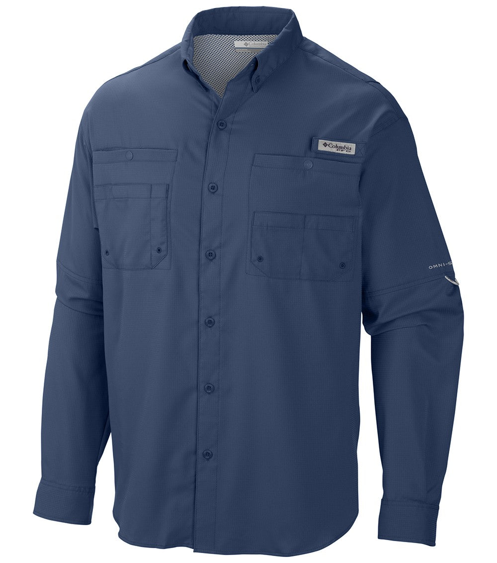 Columbia PFG Tamiami II Long Sleeve Mens Shirt Blue Heron