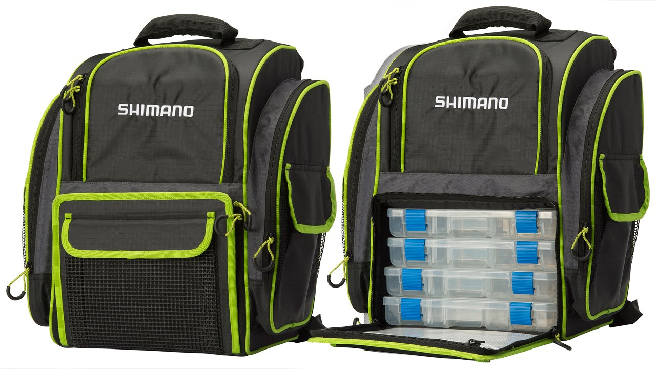 Shimano Fishing Backpack with 4 Tackle Boxes