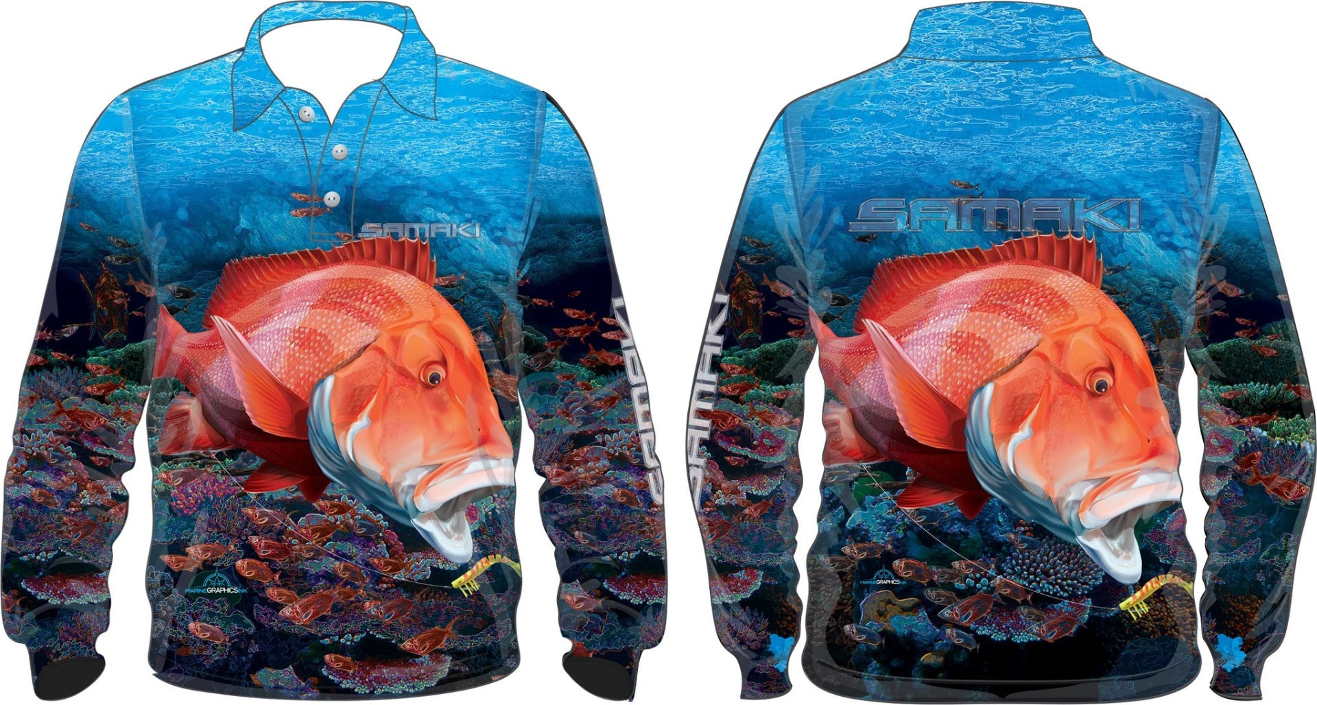 Samaki Red Emperor Long Sleeve Kids Fishing Shirt
