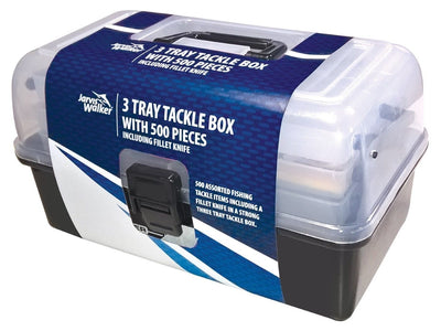 Jarvis Walker 3 Tray Tackle Box with 500 Piece Tackle Kit