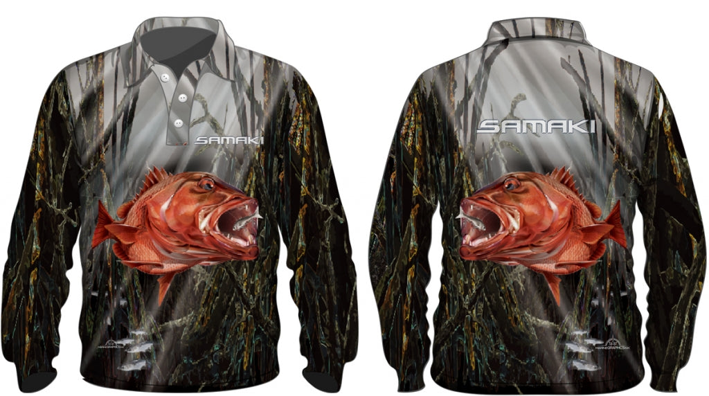 Samaki Mangrove Jack Long Sleeve Kids Fishing Shirt