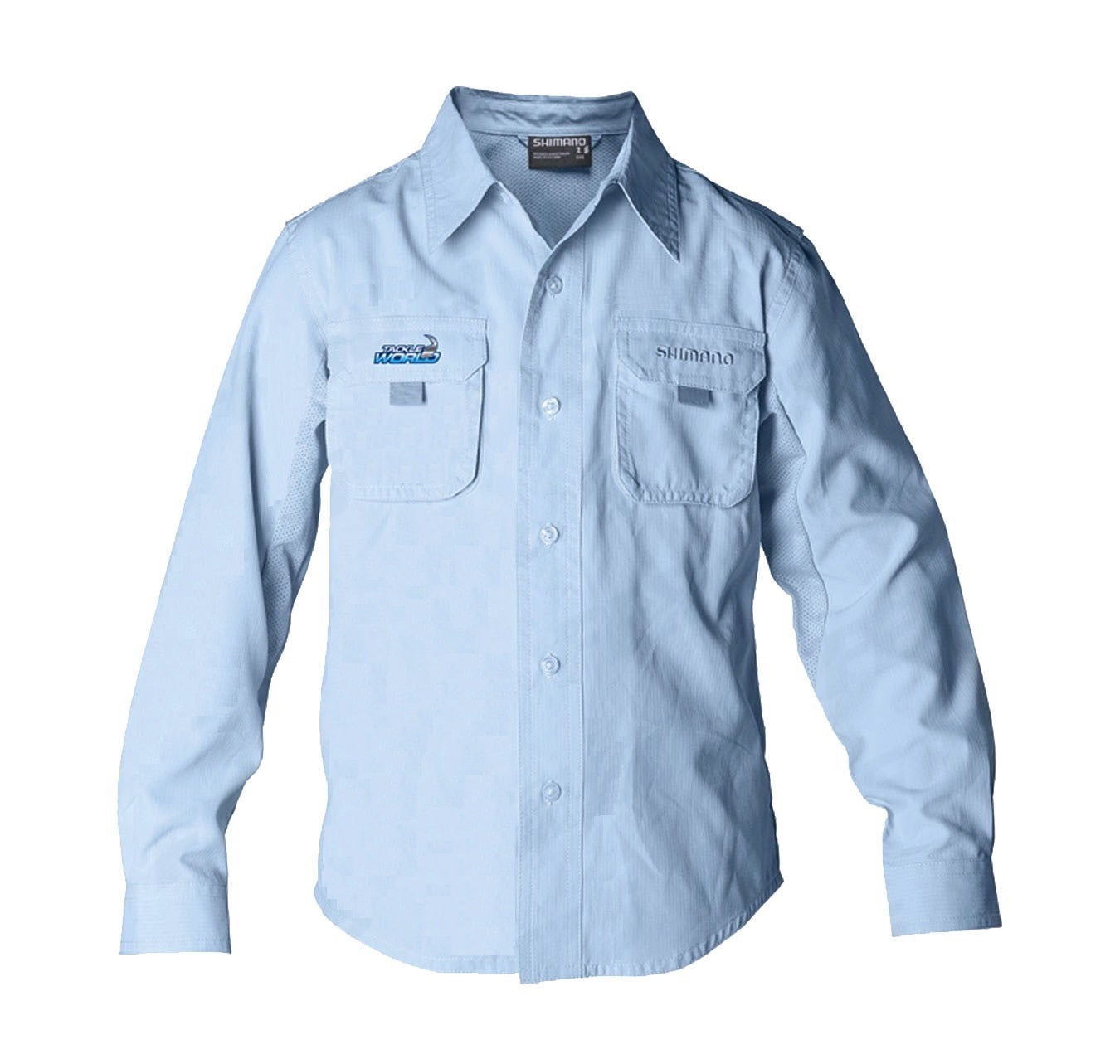 Shimano Tackleworld Blue Long Sleeve Vented Fishing Shirt Adult