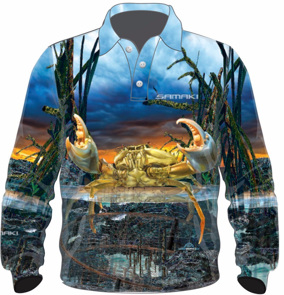 Samaki Mud Crab Kids Fishing Shirt