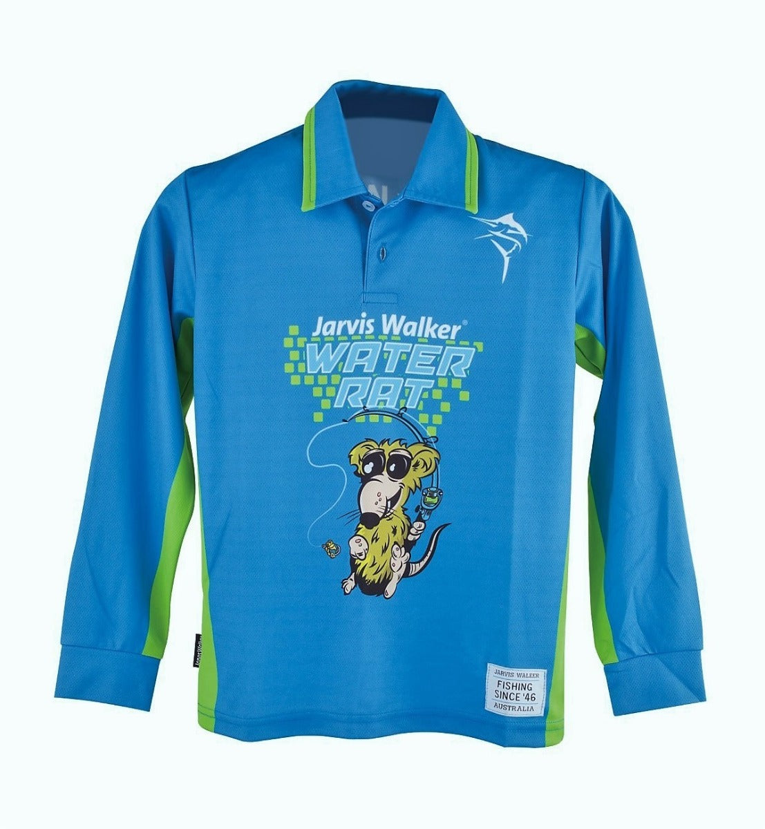 Jarvis Walker Water Rat Long Sleeve Blue Kids Fishing Shirt