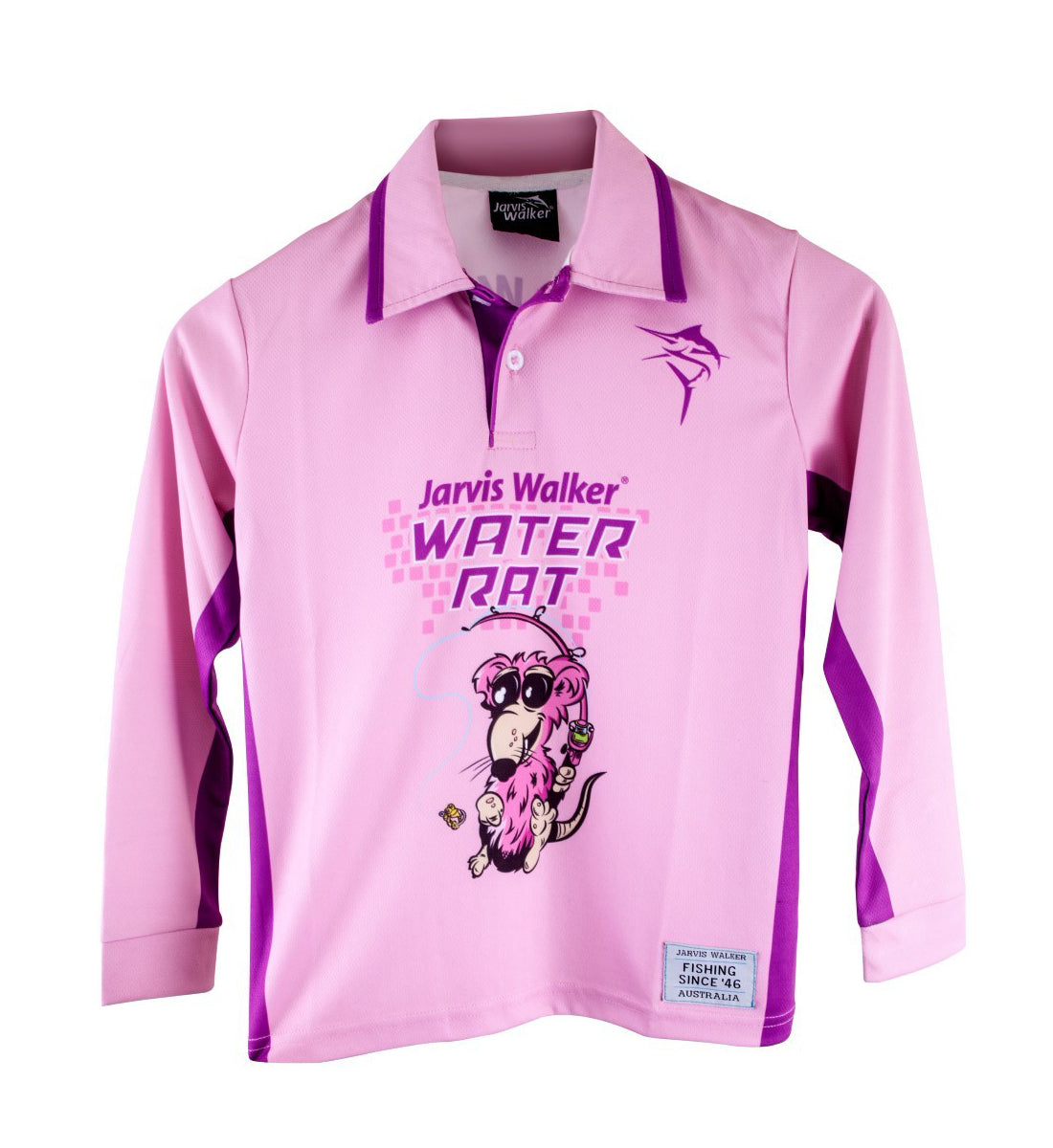 Jarvis Walker Water Rat Long Sleeve Pink Kids Fishing Shirt