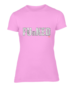 Funked Over Ladies Fitted T-Shirt - Candyfloss Pink