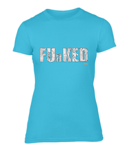 Load image into Gallery viewer, Funked Over Ladies Fitted T-Shirt - Caribbean Blue