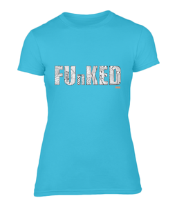 Funked Over Ladies Fitted T-Shirt - Caribbean Blue