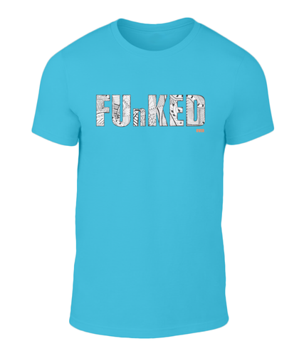 Funked Over Mens T-Shirt - Caribbean Blue