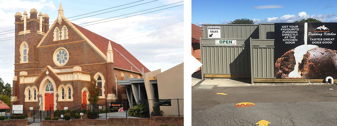 Adamstown Uniting Church and entrance to the Pudding Kitchen.