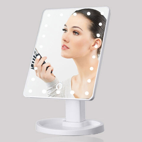 360 Degrees Rotation Makeup Mirror Adjustable 16/22 Leds Lighted LED Touch Screen