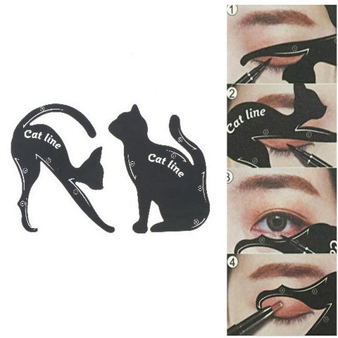 2 PCS=1Set Women Cat Line Eyeliner Stencils