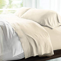 Cariloha Resort Bamboo Sheets 4 Piece Bed Sheet Set - Luxurious Sateen Weave - 100% Viscose from Bamboo Bedding (Cal King, Blue Lagoon)