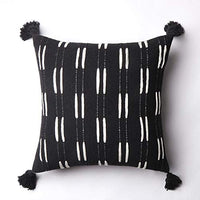 Ailsan Lumbar Decorative Throw Pillow Covers Black Woven Cotton Geometric Tribal Pillowcase,Cute Rectangle White Line Vertical Stripe Pattern Pillow Cases for Couch Sofa Bedroom Living Room