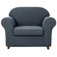 subrtex 2-Piece Geometric Sofa Slipcovers Stretch Fabric Couch Armchair Seater Cushion Cover for Living Room (Small,Dull Gray)